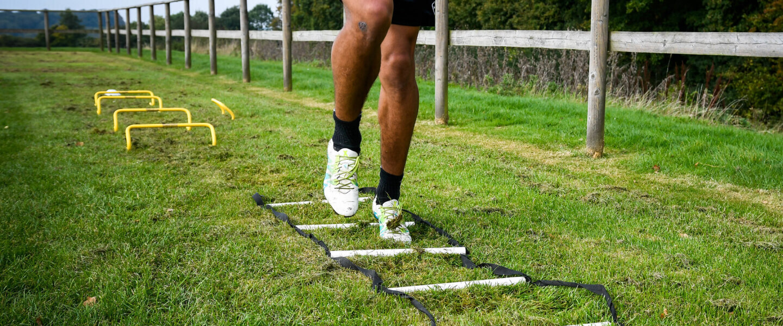 Athlete doing ladder drills